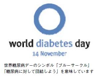 世界糖尿病デーのシンボル「ブルーサークル」「糖尿病に対して団結しよう」を意味しています