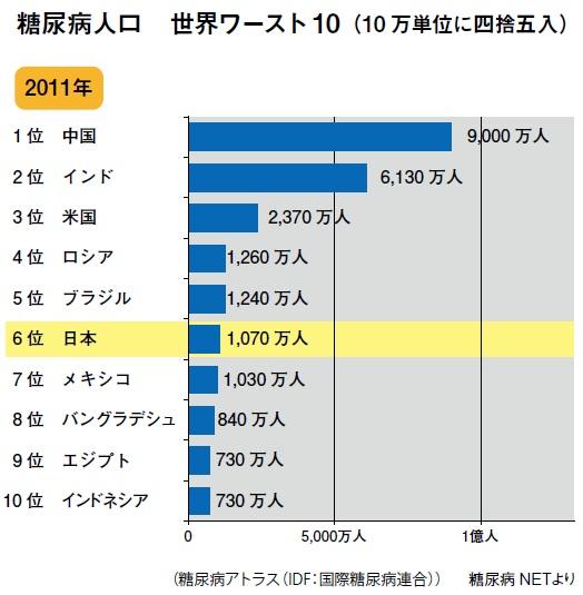 糖尿病人口 世界ワースト10(10 万単位に四捨五入)
